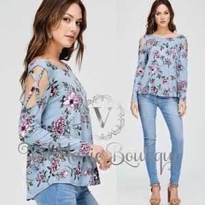 ARRIVES SOON - Powder blue floral top